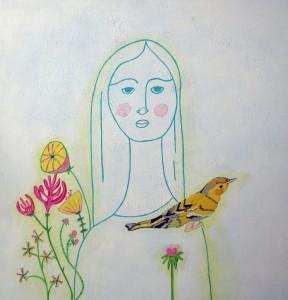girl+bird